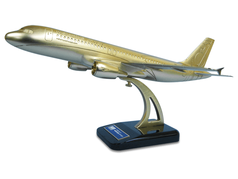 Gold model of an Airbus A320 aircraft on custom base