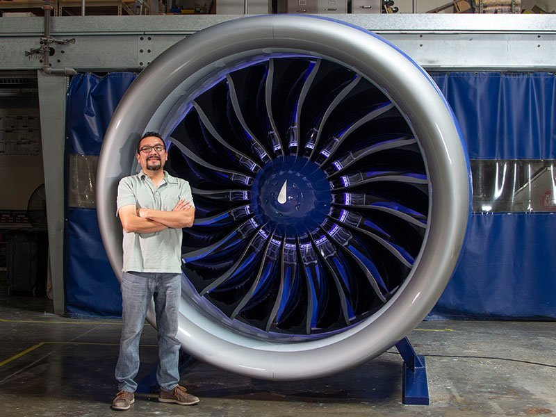 engineer with full scale engine