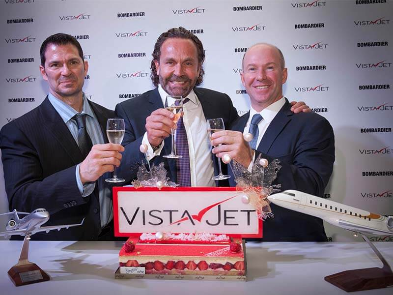 VistaJet and Bombardier celebrate the private jet operator's fleet expansion to 50 Bombardier aircraft. // Photo courtesy of Bombardier