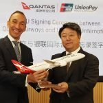 Cai Jianbo (right), CEO of UnionPay and Gareth Evans (left), CEO of Qantas International and Freight