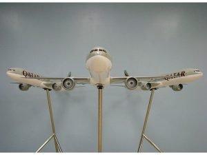 Trio of 1/50 scale Boeing 777-300ER PacMin exhibit models in Qatar Airways livery