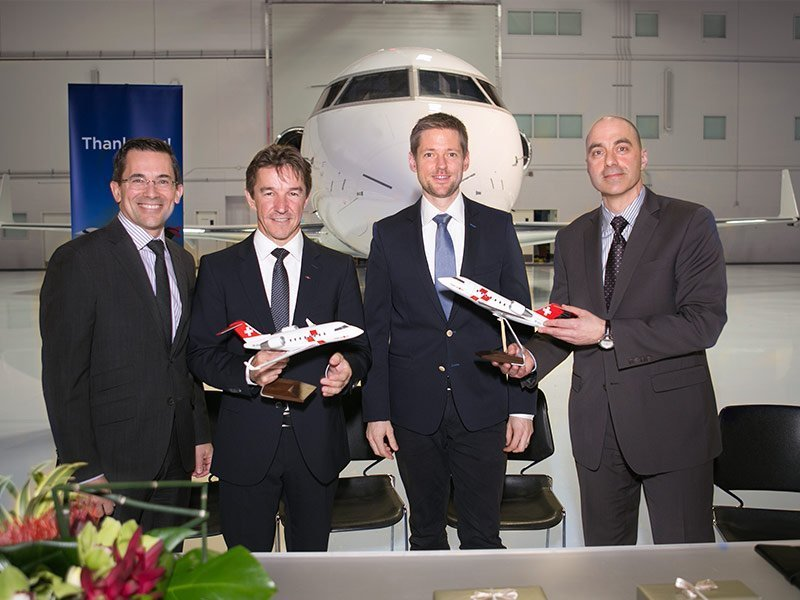 Bombardier and Swiss Air-Ambulance Rega celebrate order for three Challenger 650 aircraft with 1/55 scale PacMin models. / Photo courtesy of Bombardier