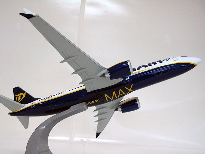 "1/100 scale Ryanair 737 MAX 200 model (15.6"""" or 39.5cm in length) highlights changes to the aircraft. / Photo courtesy of PacMin"