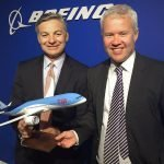 """Ray Conner, president and CEO of Boeing Commercial Airplanes, and David Burling, Member of the Executive Board and responsible for TUI Group Airlines, with a 1/100 scale 787 Dreamliner PacMin model with a 24"""" (60 cm) wingspan. / Photo courtesy of Airways"""