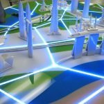 """Key cities are represented by iconic buildings and connected with illuminated """"roads""""."""