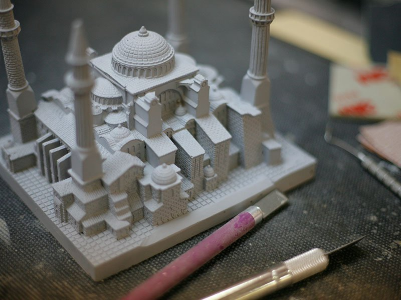 The buildings were produced using a combination of CNC machining, 3D printing and scratch building.