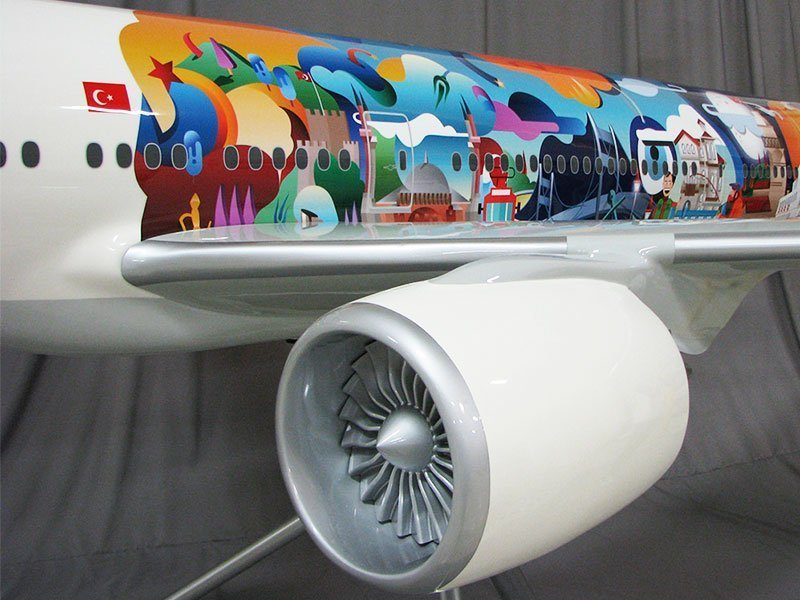 close-up sideview of Turkish Airlines model