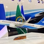"""During the ceremony, Xiamen Airlines was also presented with PacMin 737-800 desktop models in a special """"100th"""" livery. // Photo courtesy of ILFC"""