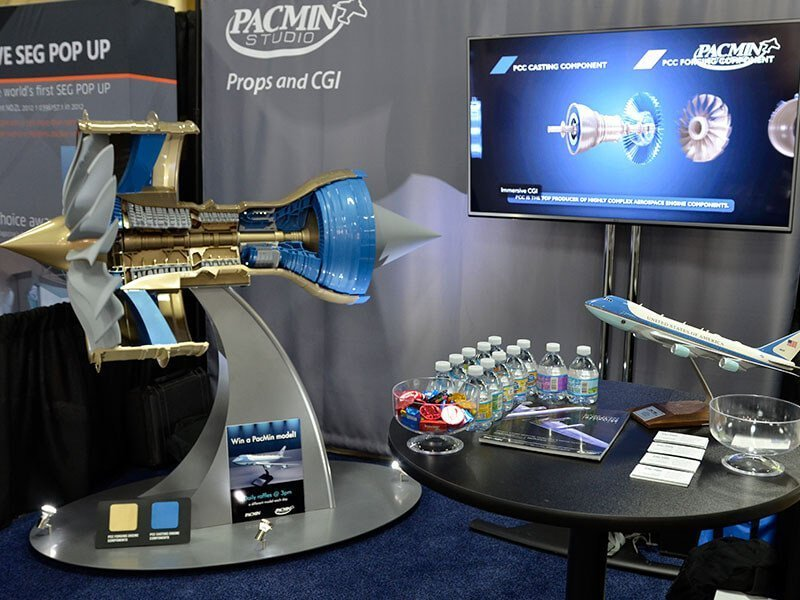exhibitor live booth engine cutaway